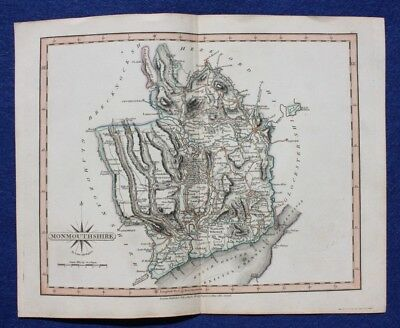 Original antique map MONMOUTHSHIRE, John Cary, 1809