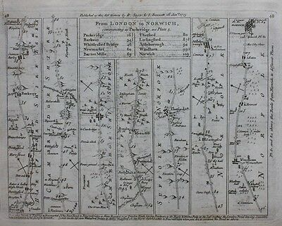 Original antique map, CAMBRIDGESHIRE, SUFFOLK, NORFOLK, Jefferys, 1775