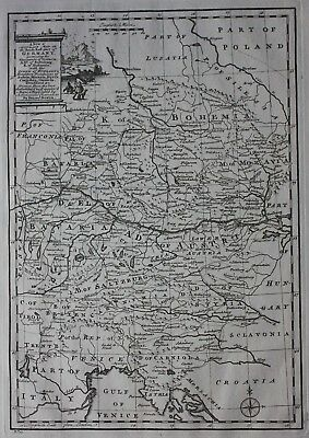 Original antique map SOUTH EAST GERMANY, BOHEMIA, CZECH REPUBLIC, E. Bowen, 1747