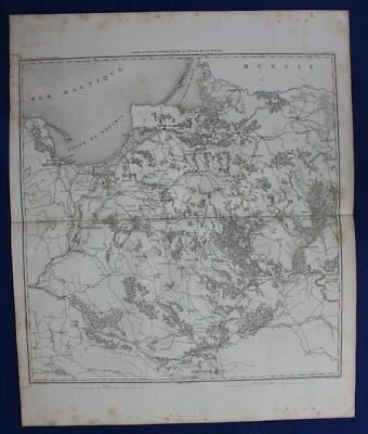 Original antique map, POLAND, GDANSK, WARSAW, VISTULA, KONIGSBERG, Dufour, 1859