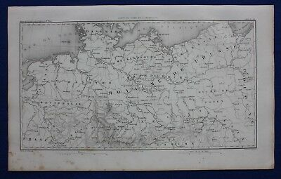 Original antique map, NORTH GERMANY, PRUSSIA, POLAND, DANZIG, Duvotenay, 1859