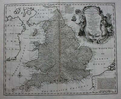 Antique atlas map ENGLAND & WALES, SOUTH BRITAIN, E. Bowen, published 1747
