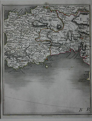 Original antique map WALES, PEMBROKE, TENBY, NEWPORT, CAERMARTHEN, Cary, 1794