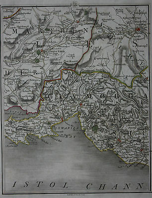 Original antique map WALES, NEATH, SWANSEA, BRIDGEND, BRECON, Cary, 1794