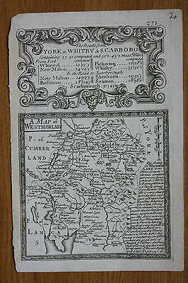 Original antique county map, WESTMORLAND, LAKE DISTRICT, Owen & Bowen, c.1736