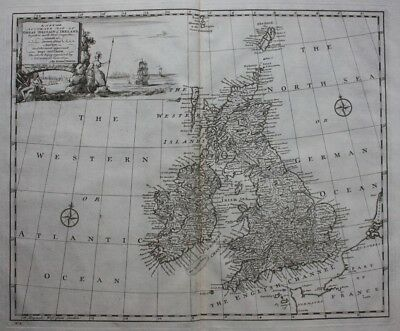 Antique atlas map BRITISH ISLES, GREAT BRITAIN, IRELAND, E Bowen, published 1747