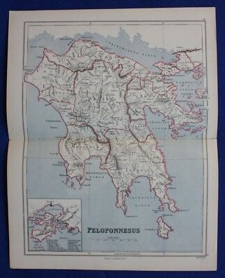Original antique map GREECE, PELOPONNESE, SPARTA, SALAMIS, Weller, 1877