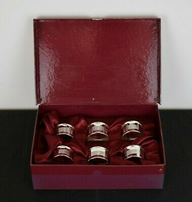 Silver Plated Napkin Rings with Box (Unused)