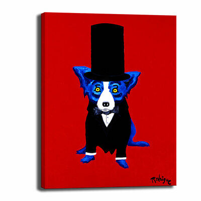 Blue Dog cartoon art HD print canvas picture home decor wall art painting 10X14