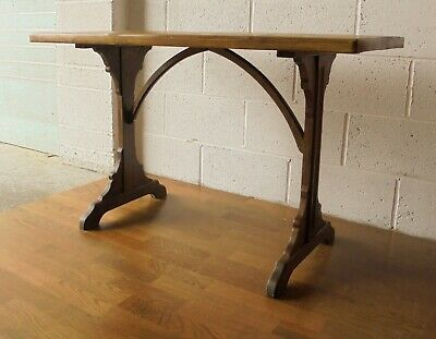 Antique French Reclaimed Pine Oak Gothic Hall Side Console Table Kitchen Dining