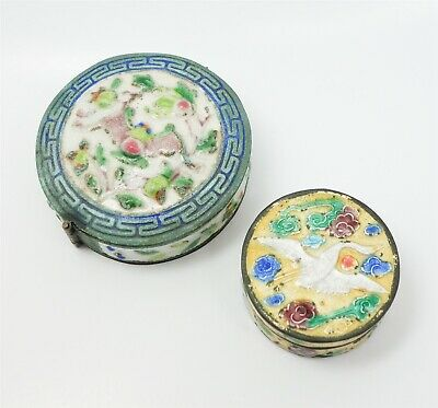 Antique c1900 Lot 2 Silver SP Chinese Ornate Enamel Round Snuff Boxes