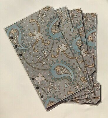 Personal Filofax Dividers in a Beautiful Blue Floral Design - Fully Laminated