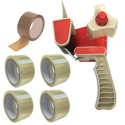 "Tape Gun Dispenser 2"" + 4 Rolls Clear + 1 Roll Brown Packing Parcel Box Tape"