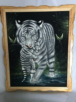 """WHITE TIGER  & CUB, Hand Painted , VELVET PAINTING , 18"""" BY 22"""" Frame Is Attach"""