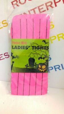 Ladies One Size Halloween Fright Nite Neon Pink Tights With Black Stripe