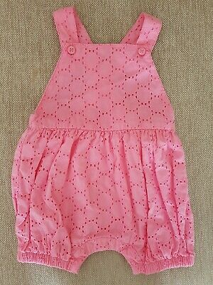 WORN ONCE! Cute Mothercare cotton pink bloomer dungarees: 1-3 months