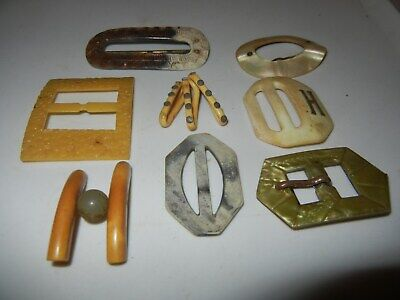 Antique Vintage Art Deco Bakelite Celluloid Mother Pearl BELT BUCKLES Slides X 8