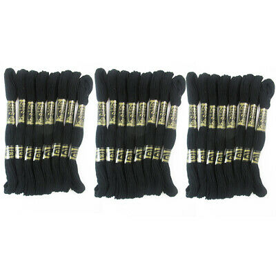 24 Black Stranded Stitch 100% Cotton Embroidery Thread Floss Sewing Skeins Craft