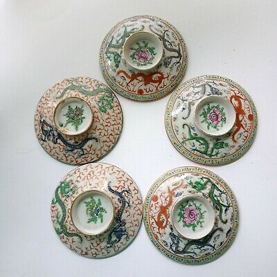 Five Chinese Porcelain eggshell cup covers