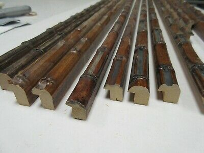 Bundle 16 Lengths (14m) Assorted Brown Bamboo Wooden Picture Frame Moulding 16mm