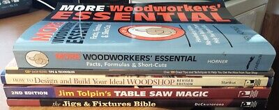 Lot of 5 Woodworking, table saw, jigs, woodshop etc books