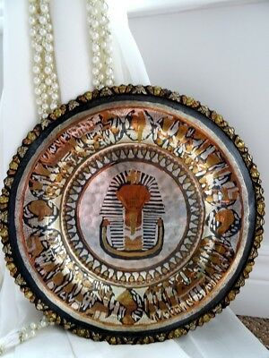 vintage EGYPTIAN plate KING TUT pharaoh COPPER BRASS highly detailed MIXED METAL