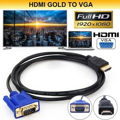 HDTV HDMI Gold Male To VGA HD-15 Male 15Pin Adapter Cable 6FT 1.8M 1080P Y9I1