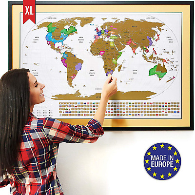 XL Scratch Off Map of The World with Flags - The Only Premium Quality Large Off