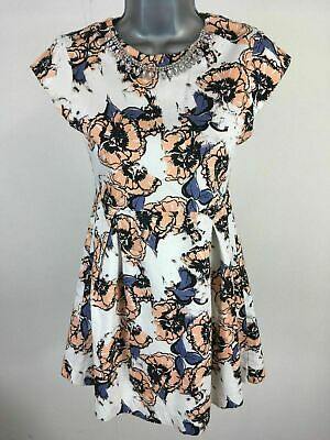Girls Childs French Connection Peach Blue Floral Jewels Skater Dress Age 12-13