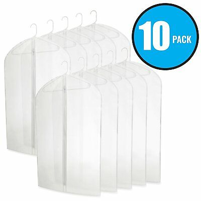 "40"" PEVA Hanging Translucent Garment Bags Travel Storage Dresses Suits 10 Pack"