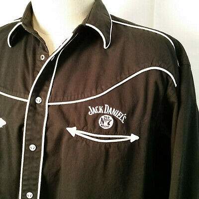 "JACK DANIELS Mens Western Black Shirt Smiley Pockets Branded Snaps XL 53"" Chest"