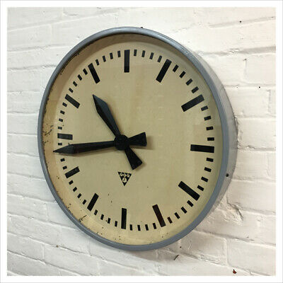 Industrial Vintage Czech Pragotron Station Antique Kitchen Large Wall Clock