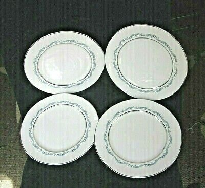 "4 Dinner Plates Denver Pattern-Aynsley Bone China-10 1/2""-Scalloped Platinum Rim"