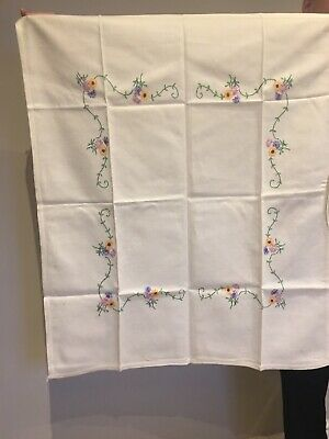 Vintage Hand Embroidered Linen Tablecloth-Beautiful Raised Embroidered Flowers