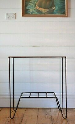 Vintage mid century side table bedside hairpin legs tubular metal industrial MCM