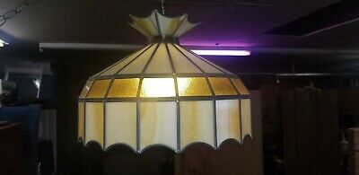 Vintage Tiffany Style Stained Glass Swag Hanging Ceiling Light Lamp