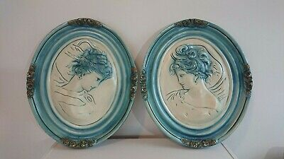 Vintage Victorian Cameo silhouette West East Wind Sculpture Wall Plaque Decor