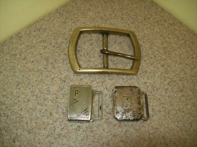 Vintage Belt Buckles Solid Brass Sterling & Pioneer Silver Plate (Lot of 3)