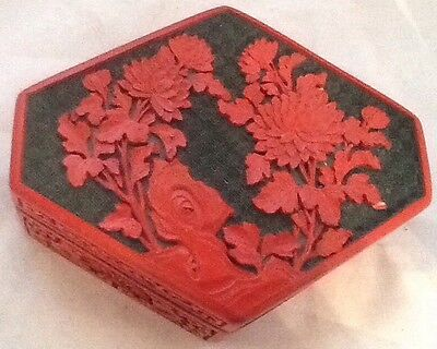 Cinnabar Carved Vtg  Box / Red And Black Laquer Cinnabar Box