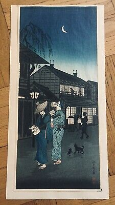 "Japanese Shotei ""Evening At Shinagawa"" Woodblock Print"
