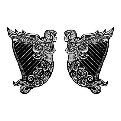 Vegasbee® Irish Heritage Harp Winged Maiden Erin Silver Embroidered 2-Patch Set