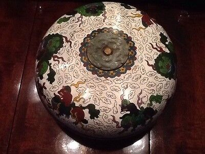 Cloisonne & Jade Box / Rare Scholars Box With Jade Center Medallion