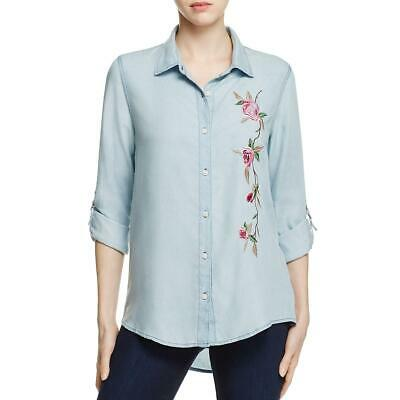 Tommy Hilfiger Womens Blue Chambray Embroidered Blouse Top XL BHFO 2586