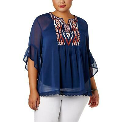 Womens Plus Embroidered Floral Peasant Top Style /& Co