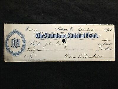 1884 The Naumkeag National Bank  $60.00 Bank Check! Rare History: Frank Kimball!