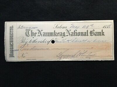 1888 The Naumkeag National Bank  $2000 Bank Check!  Rare History: Frank Kimball!