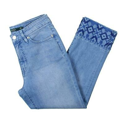Lauren Ralph Lauren Womens Blue Embroidered Straight Cropped Jeans 6 BHFO 2210
