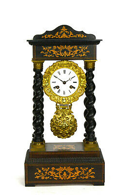 Original 1860 French Empire Ormolu Bronze Inlaid Portico Pillar Mantel clock