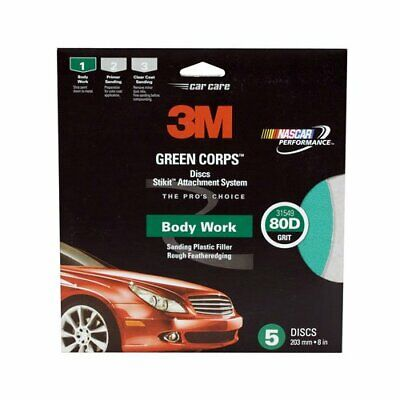 """3m 3M-31549 Green Corps Stikit Disc 31549, 8"""", 80d, 5, Discs/pack"""