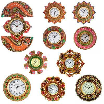 Wooden Wall Hanging Clock Indian Handcrafted Antique Home Decor Unique Clocks